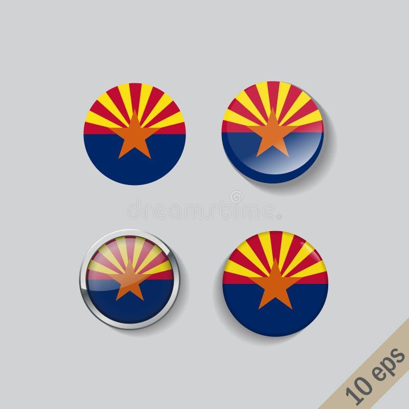 Placez des boutons ronds avec l'image du drapeau d'état de l'Arizona sur le fond gris avec l'ombre illustration de vecteur