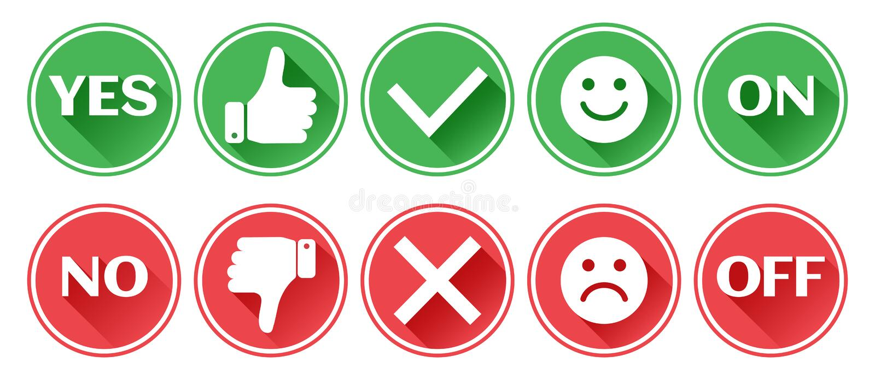 Placez des boutons rouges et verts d'icônes Pouce en haut et en bas Comme et aversion Confirmation et rejet Oui et num?ro En marc illustration de vecteur