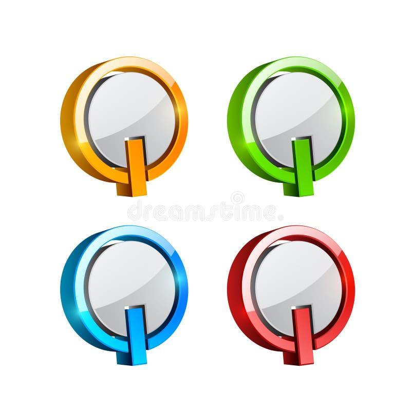 Placez des boutons tridimensionnels colorés illustration stock