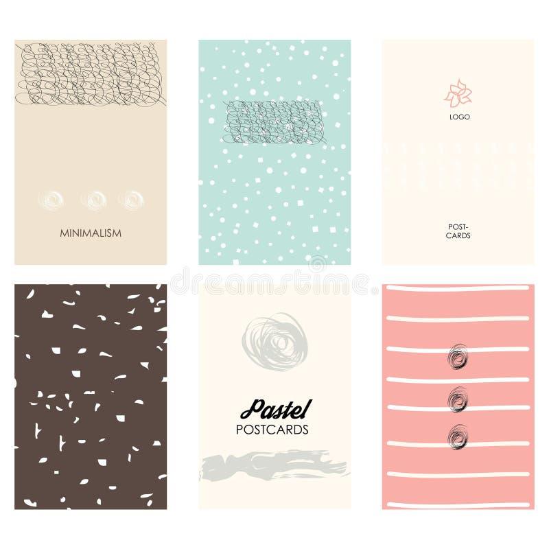 Placez des brochures avec les éléments, les modèles et les textures abstraits tirés par la main de conception illustration stock