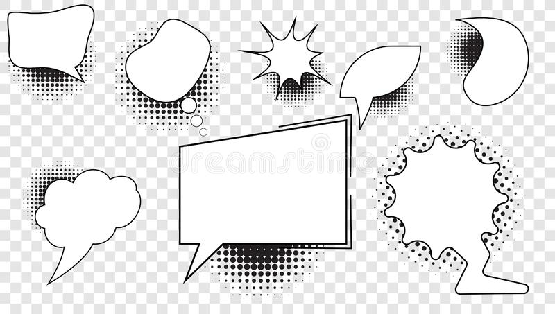 Placez des bulles comiques avec un fond vide au milieu pour le texte et des éléments avec des images tramées illustration de vecteur