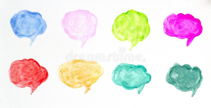 Placez des bulles de la parole d'aquarelle ou des nuages color?s de conversation, illustration tir?e par la main de brosse d'aqua illustration de vecteur