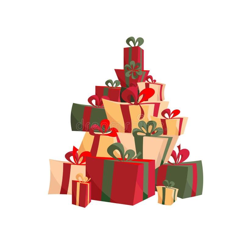 Placez des cadeaux de Noël avec les rubans, arcs en rouge et vert La pile de présents dans diverses boîtes de forme a attaché col illustration libre de droits