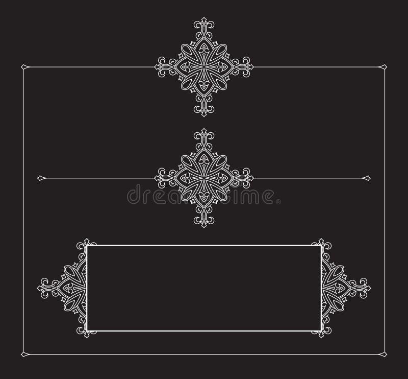 Placez des cadres décoratifs de vecteur de cru sur un fond noir illustration libre de droits