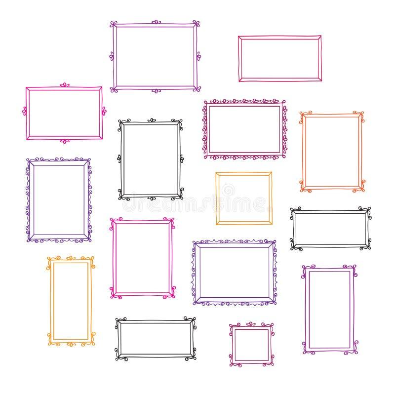 Placez des cadres décoratifs tirés par la main de photo de cru Griffonnages, croquis pour votre conception illustration de vecteur