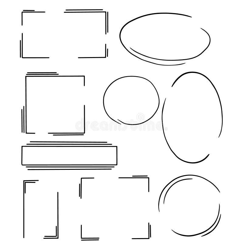 Placez des cadres dans le style simple sur le fond transparent Bon pour différentes décorations réservez, carte postale et invita illustration de vecteur