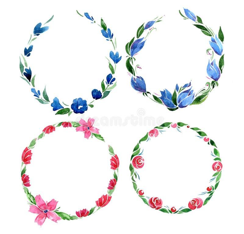 Placez des cadres de cercle avec les fleurs roses et bleues et les feuilles vertes d'isolement sur le fond blanc illustration stock