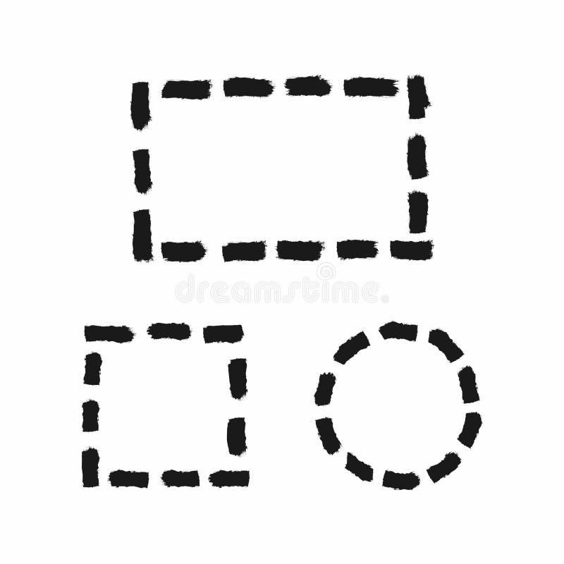 Placez des cadres grunges des lignes pointillées Rectangle, place, cercle tracé à la main avec une brosse rugueuse Croquis, peint illustration stock
