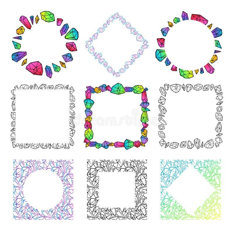 Placez des calibres de cadres de cristaux illustration de vecteur
