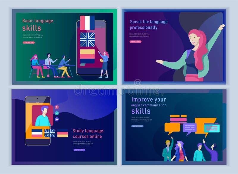 Placez des calibres de débarquement de page pour des cours de langues en ligne, formation à distance, formation Interface de conn illustration libre de droits