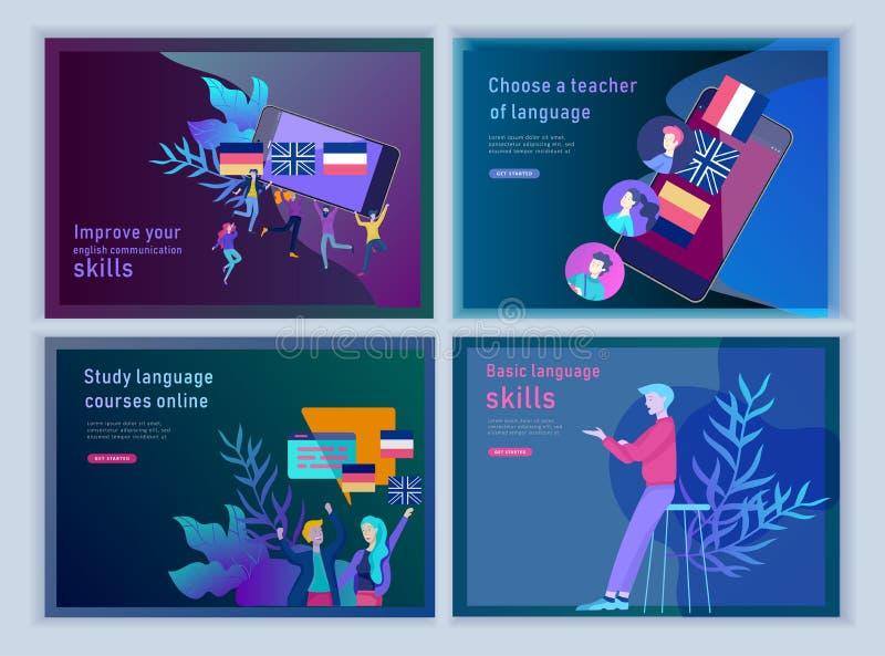 Placez des calibres de débarquement de page pour des cours de langues en ligne, formation à distance, formation Interface de conn illustration stock