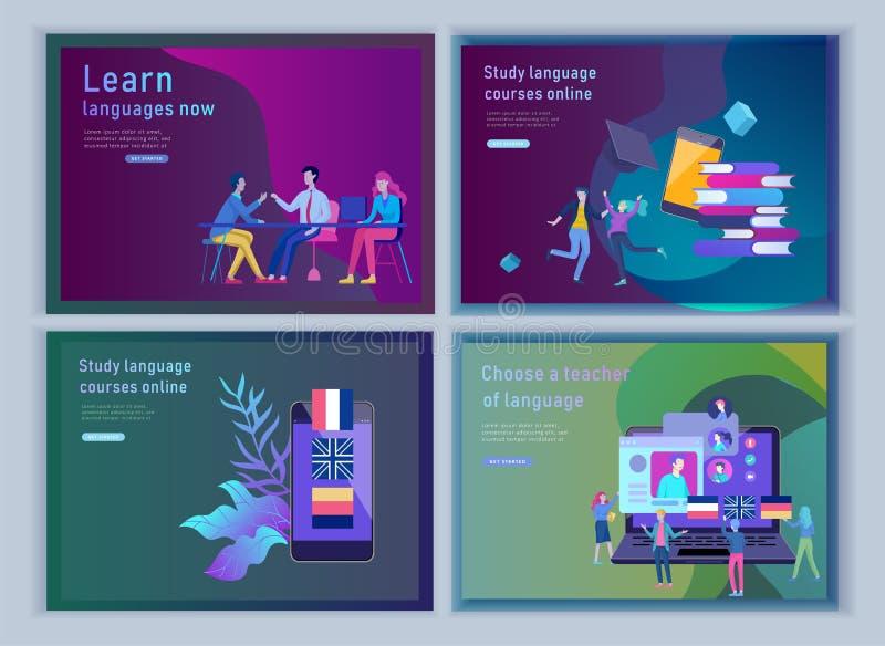 Placez des calibres de débarquement de page pour des cours de langues en ligne, formation à distance, formation Interface de conn illustration de vecteur