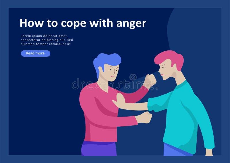 Placez des calibres de débarquement de page pour des problèmes mentaux de psyhology, attaques de panique de dépression, contrôle  illustration libre de droits