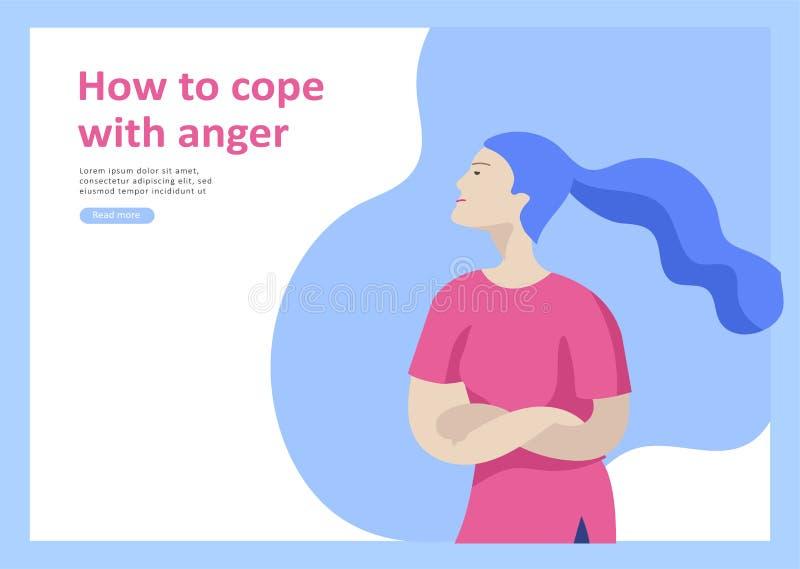 Placez des calibres de débarquement de page pour des problèmes mentaux de psyhology, attaques de panique de dépression, contrôle  illustration stock