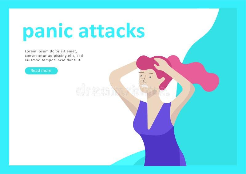 Placez des calibres de débarquement de page pour des problèmes mentaux de psyhology, attaques de panique de dépression, contrôle  illustration de vecteur