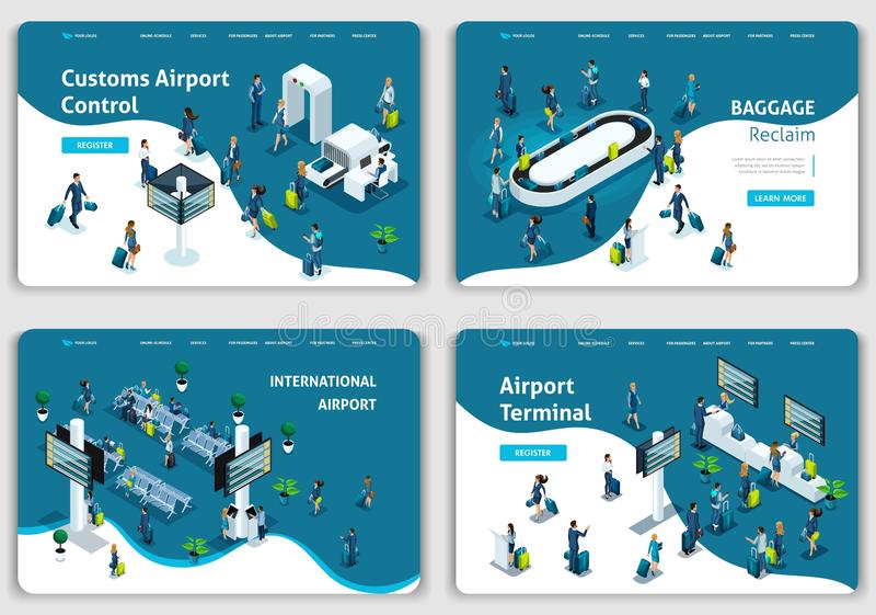 Placez des calibres de site Web, aéroport de concept, salon, retrait des bagages, terminal, passagers Concepts d'illustration de  illustration de vecteur