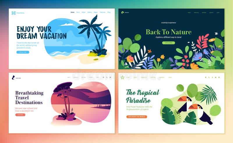 Placez des calibres plats de page Web de conception des vacances d'été, destination de voyage, nature, tourisme illustration de vecteur