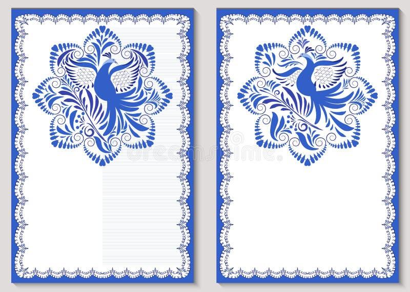 Placez des calibres pour la carte de voeux ou les invitations Conception dans le style de la peinture bleue de porcelaine Modèle  illustration stock