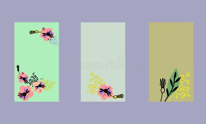 Placez des calibres sociaux d'histoires de m?dias Milieux floraux dans le style scandinave, couleurs en pastel illustration stock