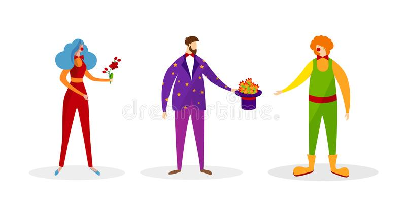 Placez des caractères dans des costumes artistiques en démonstration illustration de vecteur