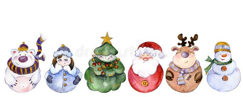 Placez des caractères de Noël d'isolement sur le fond blanc illustration de vecteur
