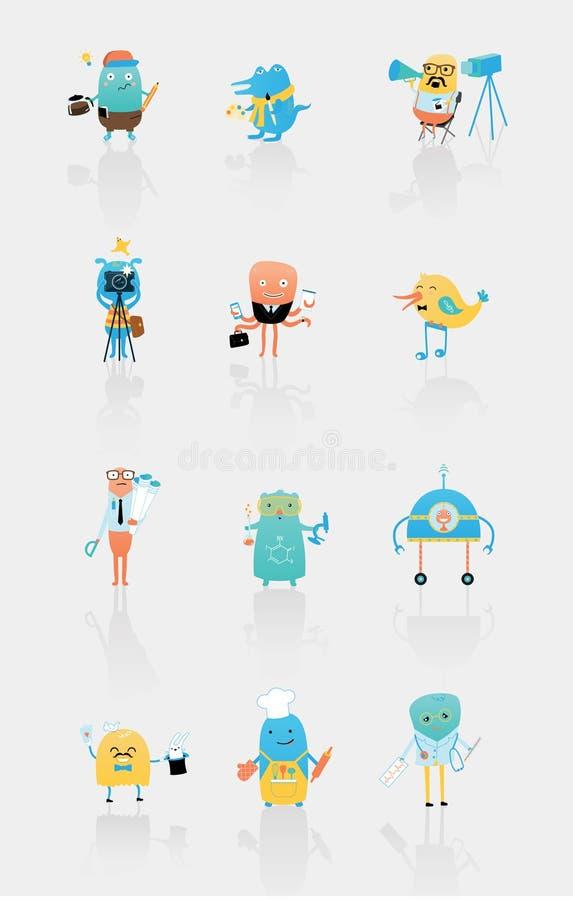 Placez des caractères de vecteur décrivant différentes professions illustration de vecteur