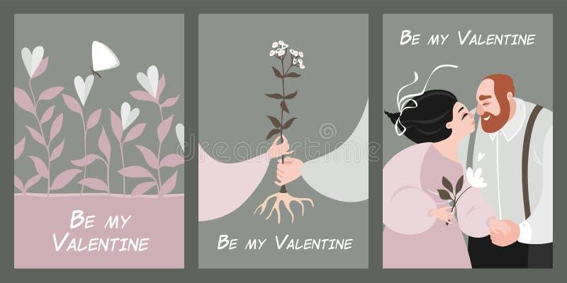 Placez des cartes du jour de valentine de vecteur dans le style de cru illustration de vecteur