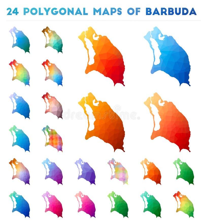Placez des cartes polygonales de vecteur de Barbuda illustration libre de droits
