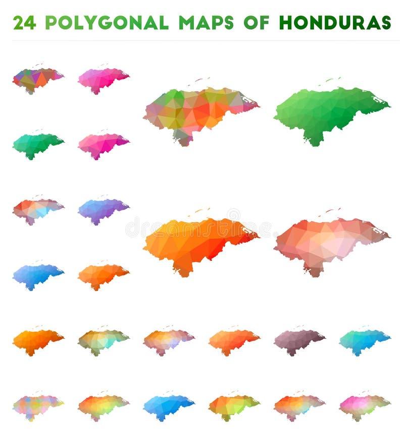 Placez des cartes polygonales de vecteur du Honduras illustration de vecteur