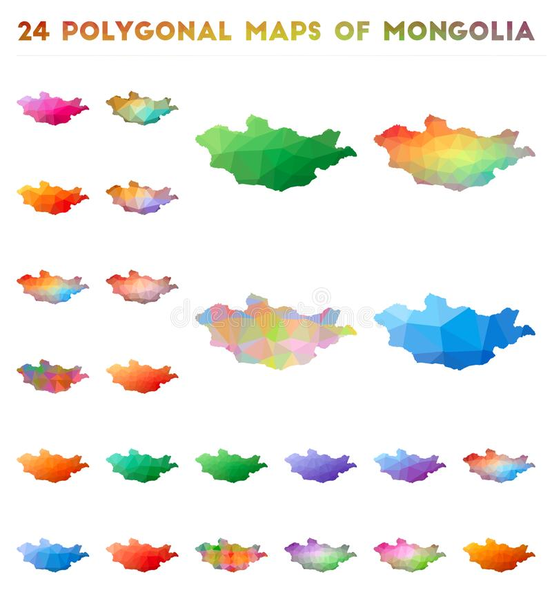 Placez des cartes polygonales de vecteur de la Mongolie illustration libre de droits