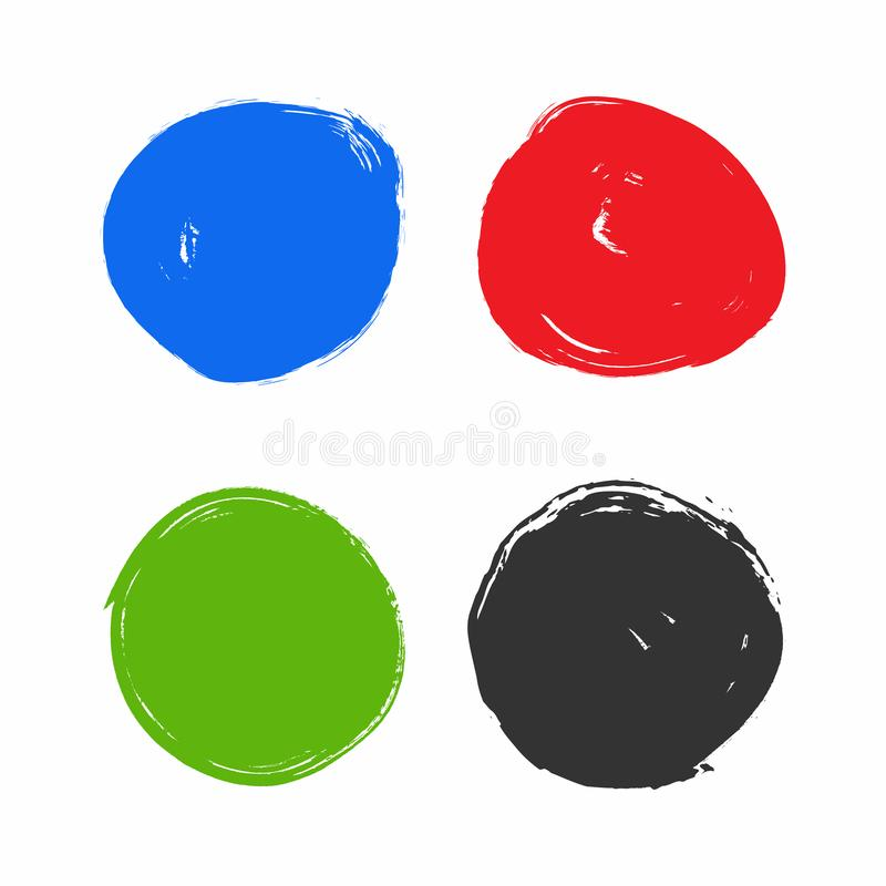 Placez des cercles d'isolement d'aquarelle Collection de taches rondes colorées dessinées à la main avec la brosse rugueuse Grung illustration libre de droits