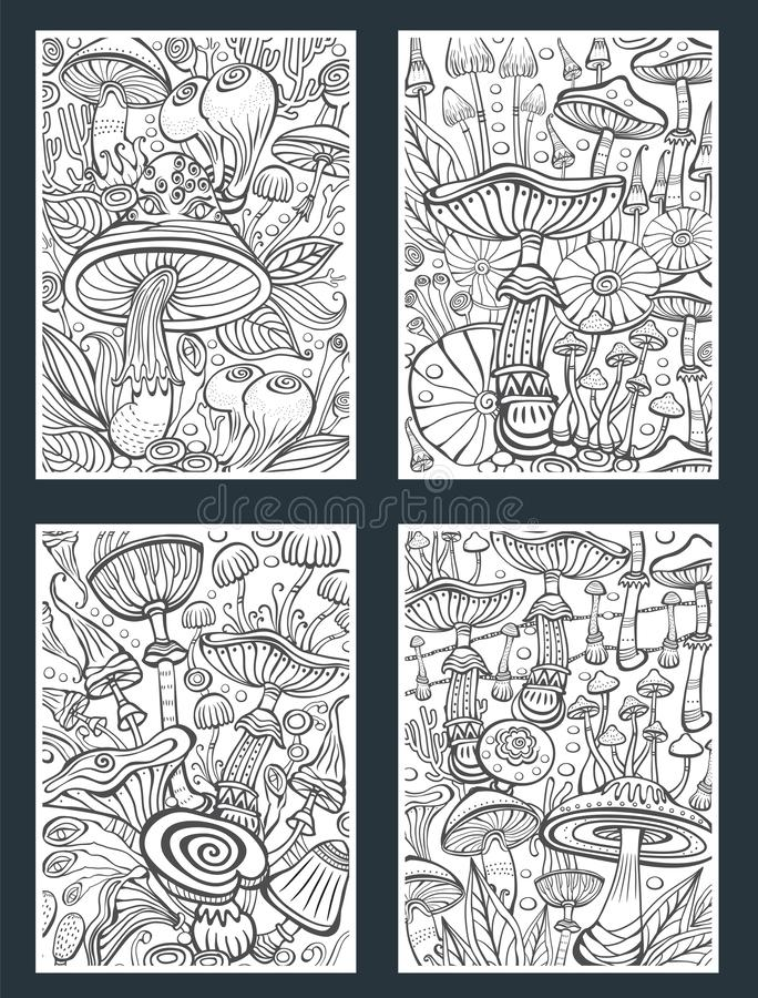 Placez des champignons colorant la page antistress de livre illustration stock