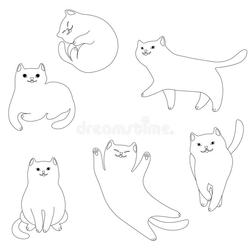 Placez des chats blancs de bande dessinée illustration libre de droits