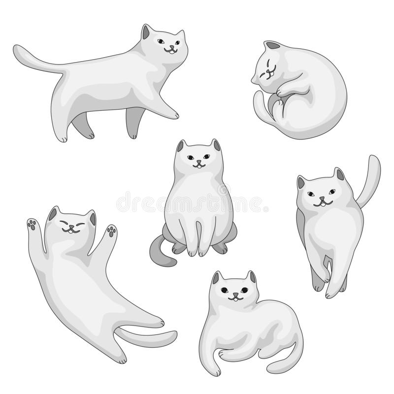 Placez des chats blancs de bande dessinée illustration stock