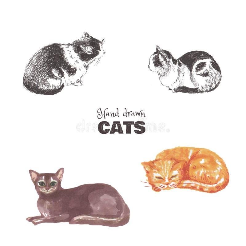 Placez des chats tirés par la main Croquis des chats multicolores menteur illustration libre de droits