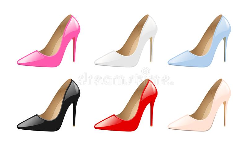 Placez des chaussures de femmes élégantes, talons hauts colorés, chaussures à la mode de mode, d'isolement sur le vecteur blanc d illustration stock