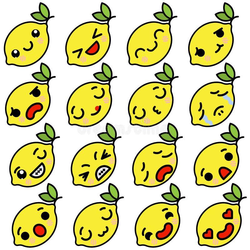 Placez des citrons d'Emoji d'icônes avec différentes émotions Illustration de vecteur illustration libre de droits