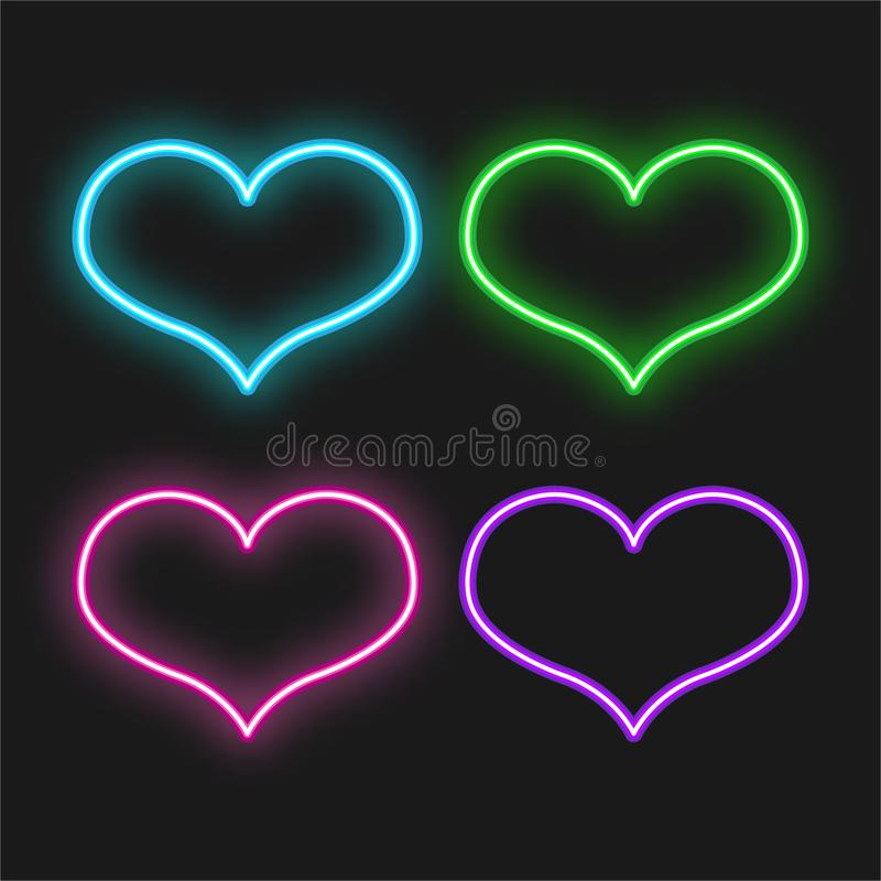 Placez des coeurs lumineux au néon sur le fond noir Signe électrique rougeoyant de Saint-Valentin Illustration de vecteur illustration stock