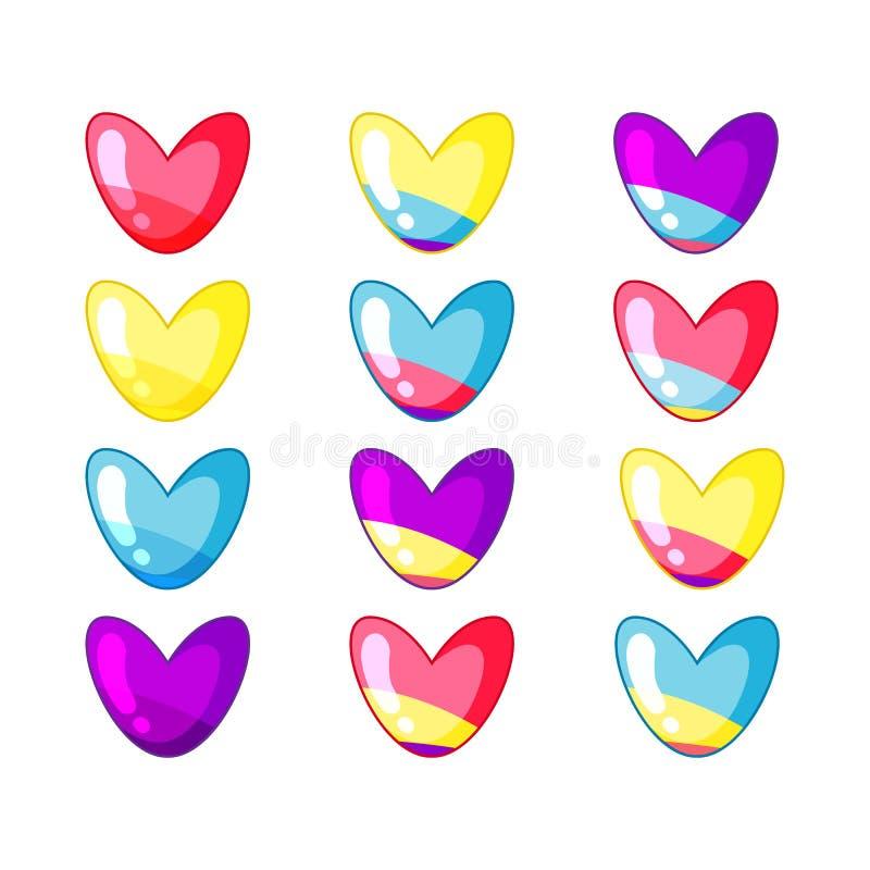 Placez des coeurs mignons de charme dans des couleurs acides illustration stock