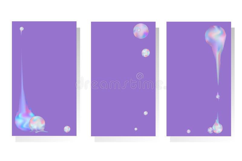 Placez des conceptions avec les compositions abstraites en vecteur avec les sphères iridescentes d'arc-en-ciel illustration stock