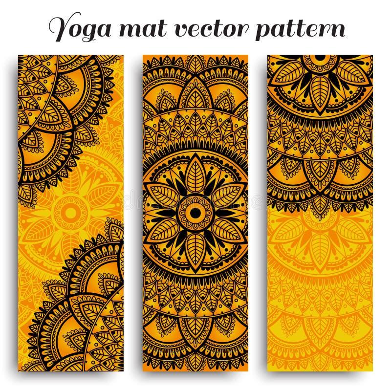 Placez des conceptions ethniques pour des tapis de yoga Modèle de vecteur avec le mandala illustration libre de droits
