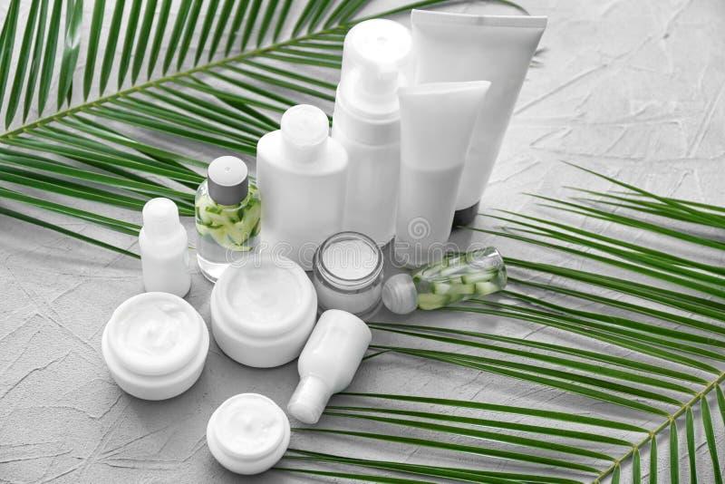 Placez des cosmétiques avec l'extrait de fines herbes sur le fond gris photos libres de droits