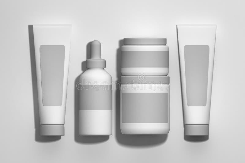 Placez des cosmétiques blancs empaquetant des pots, les bouteilles, tubes sur le fond blanc illustration stock