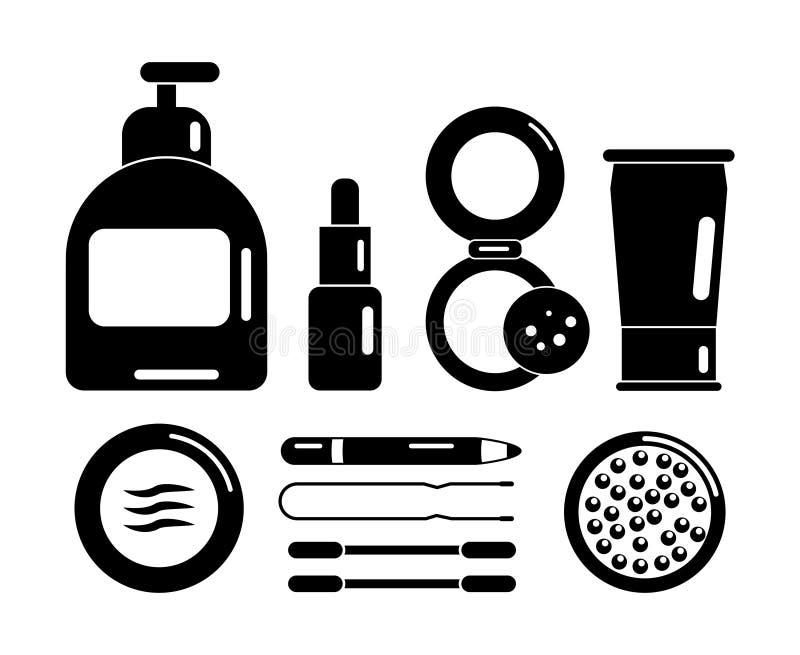 Placez des cosmétiques noirs d'icônes pour le visage illustration stock