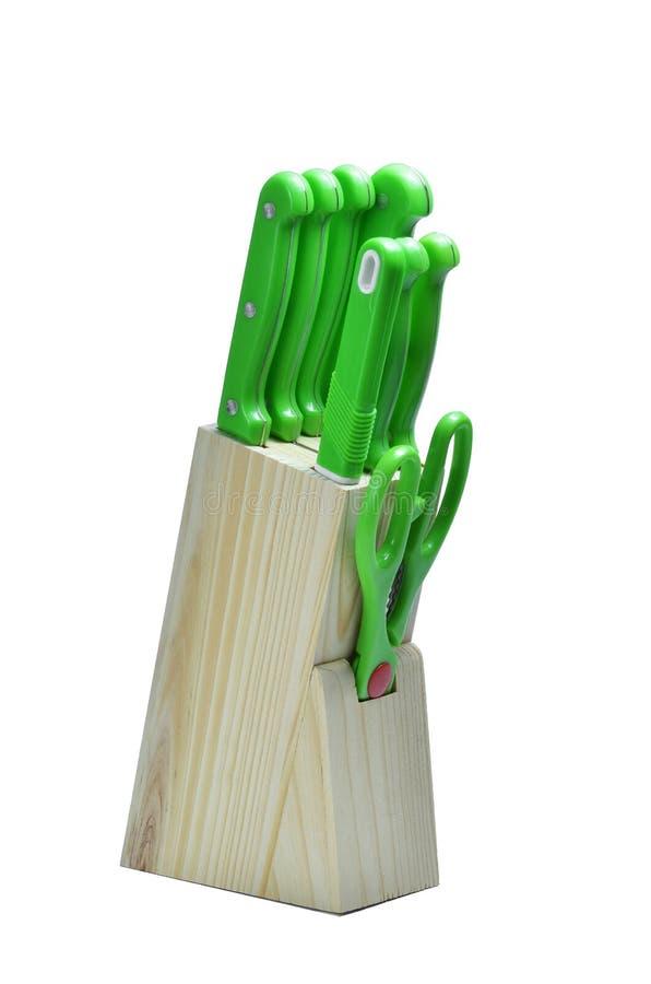 Placez des couteaux pour la cuisine, bloc de couteau photographie stock libre de droits