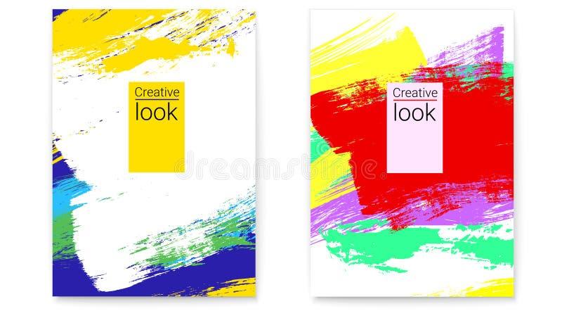 Placez des couvertures de vecteur Fond géométrique avec de grandes courses colorées multi de brosse Créatif recherchez la concept illustration de vecteur