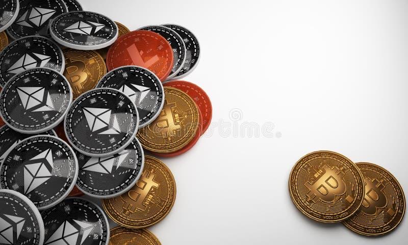 Placez des cryptocurrencies avec un bitcoin d'or et le bitcoin argenté sur le fond blanc renderinng 3D illustration libre de droits