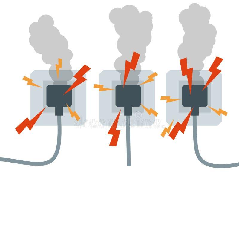 Placez des débouchés électriques avec de la fumée Illustration plate de bande dessinée illustration stock