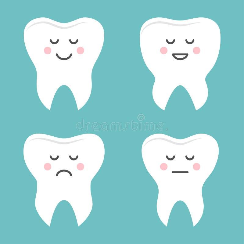 Placez des dents avec différentes émotions Illustration de vecteur illustration libre de droits