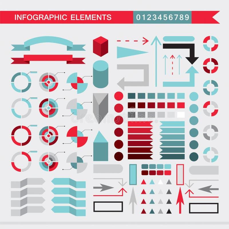 Placez des diagrammes d'éléments, du graphique, du diagramme, des flèches, des signes, des barres, des boutons, des frontières in illustration de vecteur